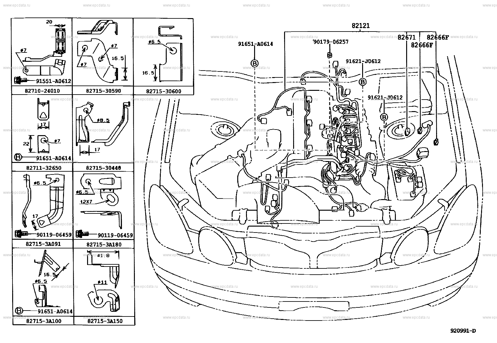 Wiring & clamp for Toyota Aristo JZS161 - Genuine parts